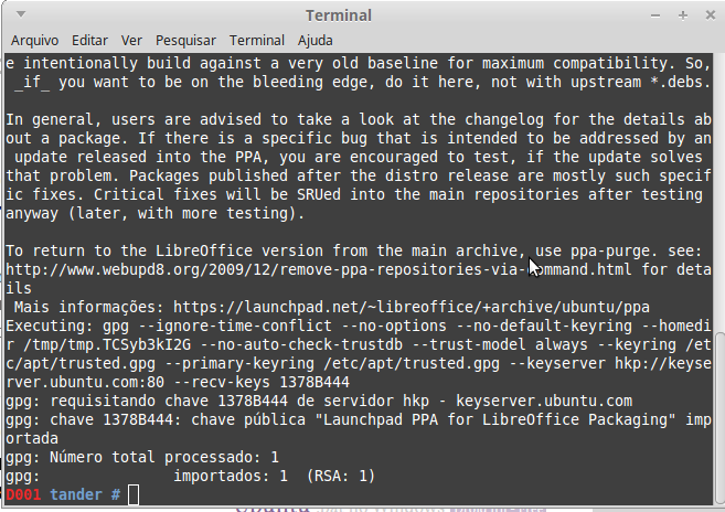 Adicionando o Repositório do LIbreOffice