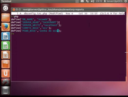 Alterando o usuário e senha de conexão no dbconfig-inc