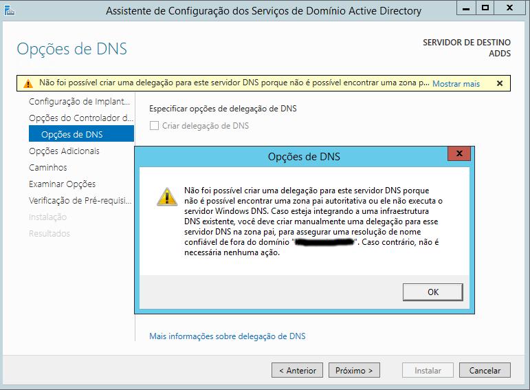 Opções de DNS
