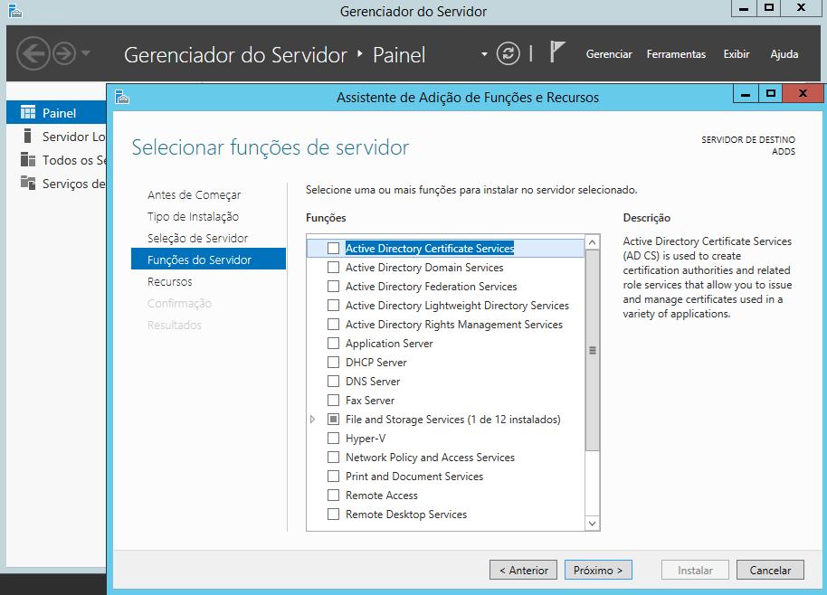 Seleção de funções do servidor