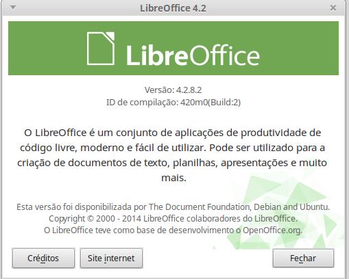 Sua versão do LibreOffice