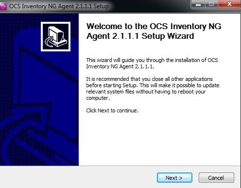 Iniciando a instalação do Agente Windows - OCS Inventory