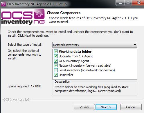 Opções dos componentes de instalação do OCS Inventory