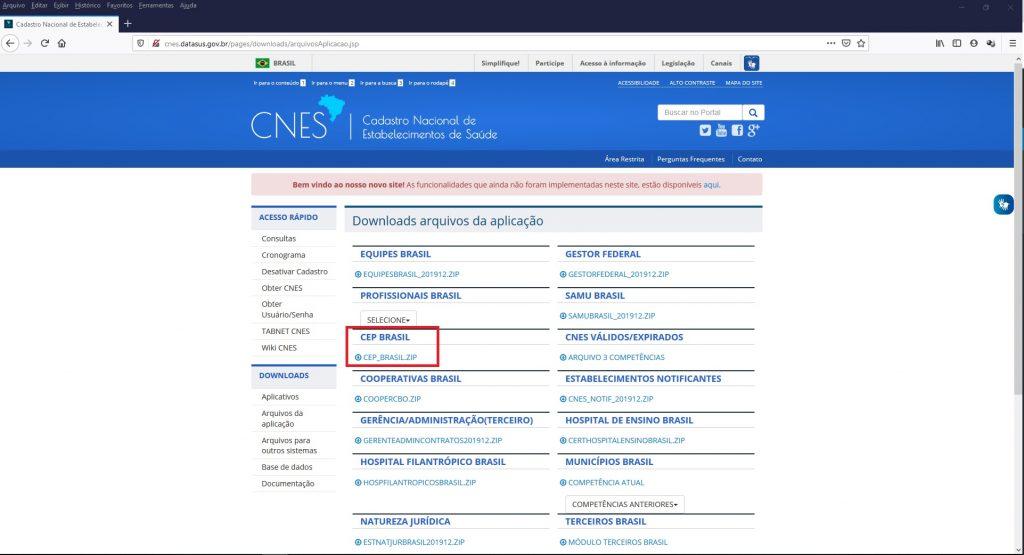 Realizando download do arquivo CEP BRASIL