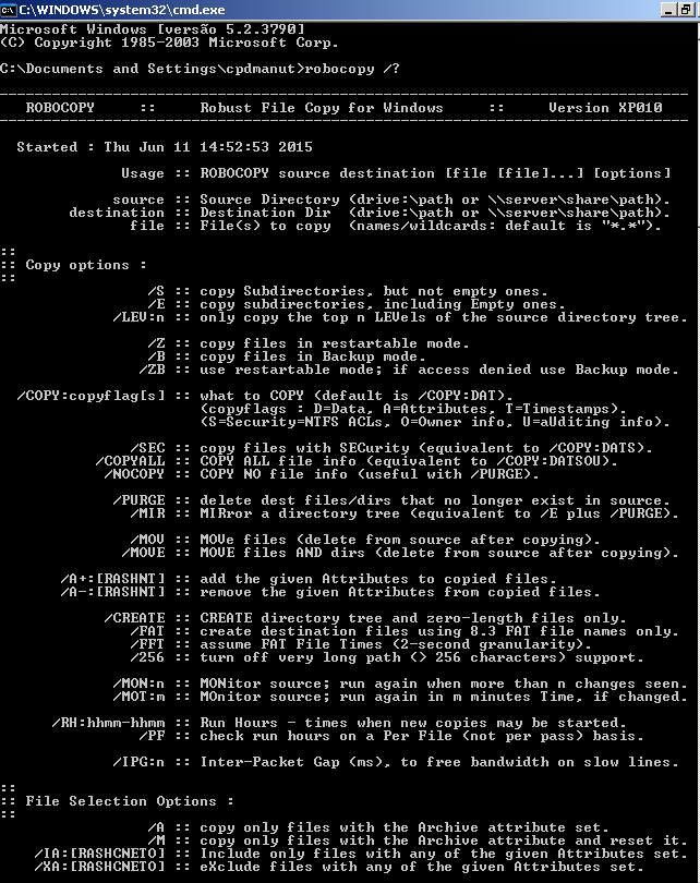 Visão geral do Robocopy - Parte 1