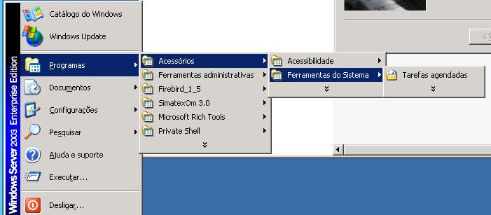 Caminho para abrir o Assistente de Tarefas Agendadas do Windows