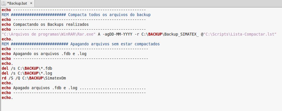 Script para compactar arquivos e diretórios com RAR